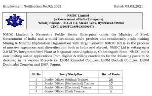 NMDC    Recruitment 2021